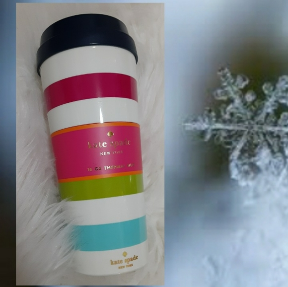 New!♠️Kate Spade Candy Stripe Thermal Mug